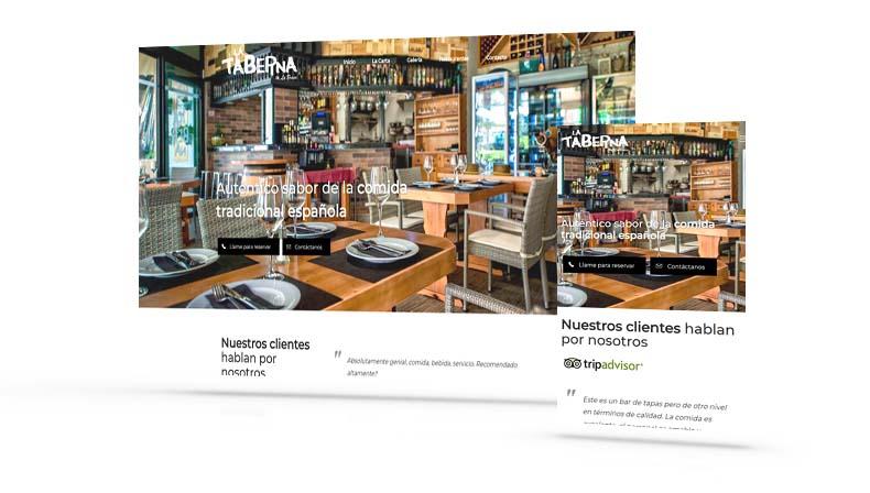 Restaurante La Taberna. Diseño páginas web en Tenerife, Más que Mapas